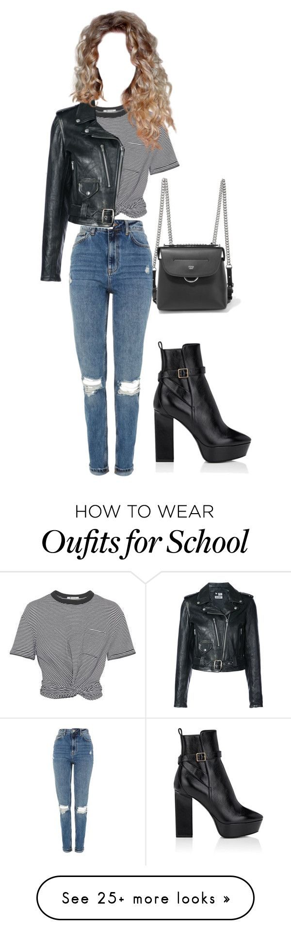 """""""a wild biking night"""" by odette-queen on Polyvore featuring Fendi, T By Alexander Wang, Yves Saint Laurent, Topshop and RE/DONE"""