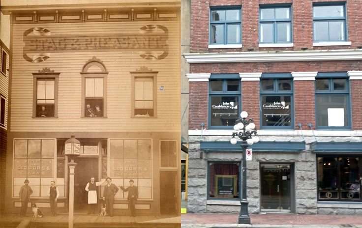 Water Street circa 1888 or 1887. After extensive renovations in 1990, including seismic upgrades, The Stag & Pheasant Saloon now offers office and retail space in Gastown.