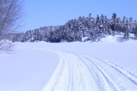 Riding on the snowmobile trials in Sudbury