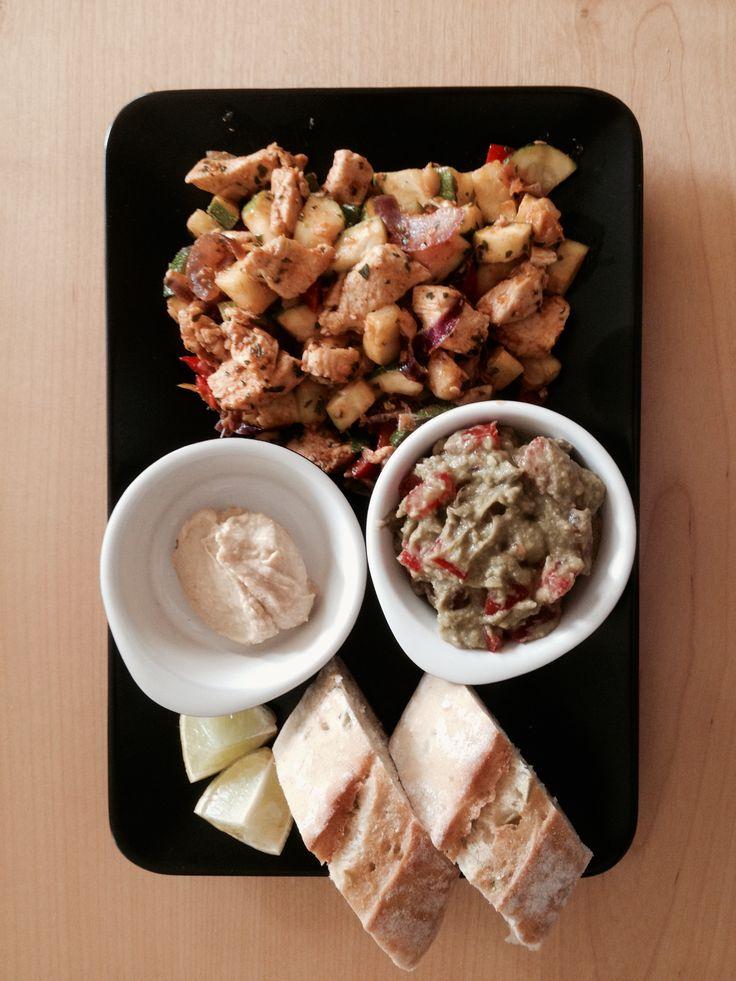 Spicy Chicken, Guacamole & Hummus