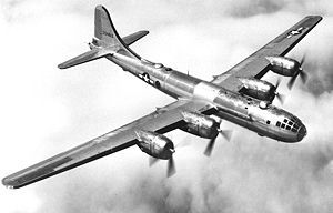 The B-29 Superfortress - a 4-engine propeller-driven heavy bomber designed by Boeing. It flew in late-World War II and through the Korean War.