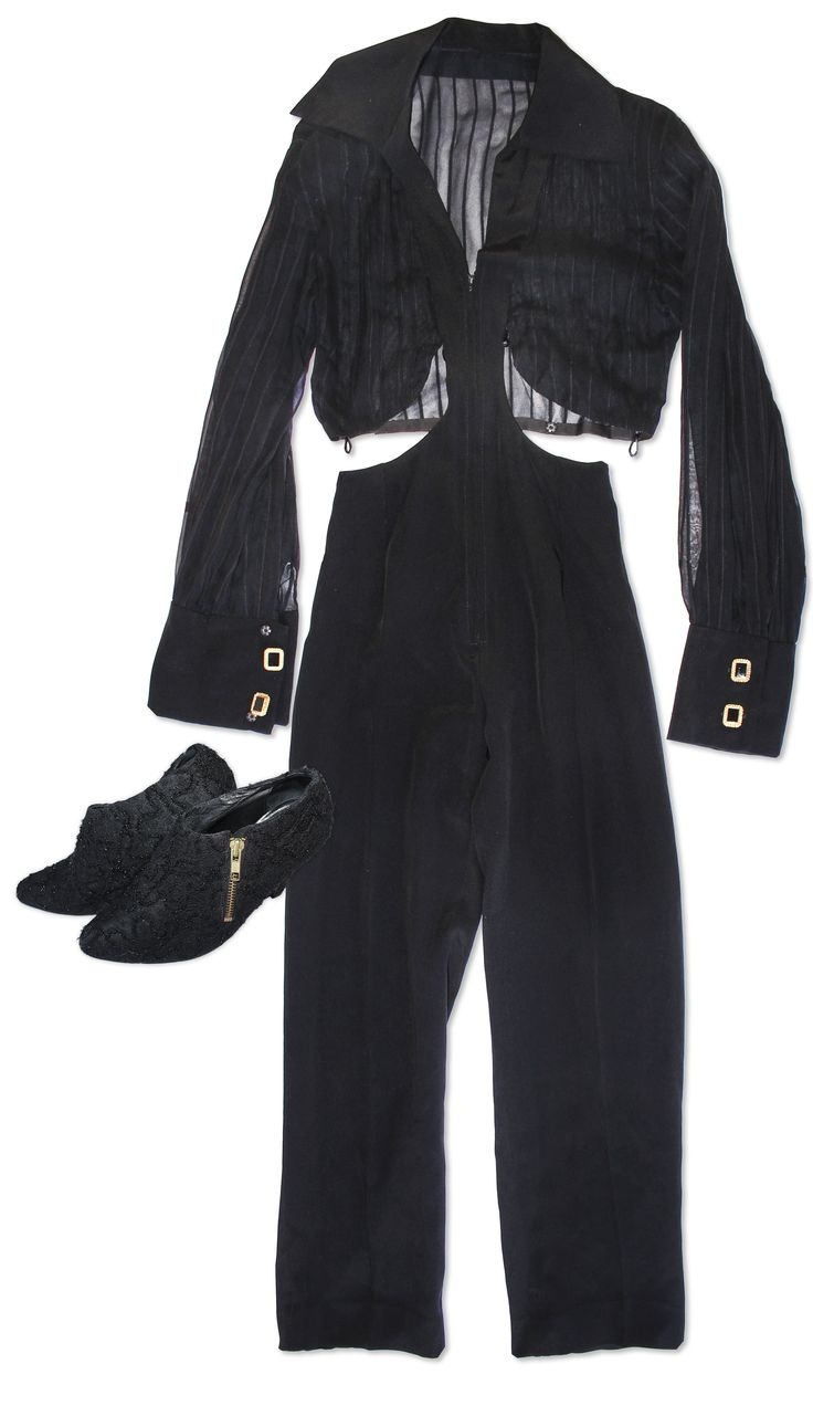 Black outfit personally worn by Prince. Outfit consists of bodysuit and shoes: (1) Black long sle