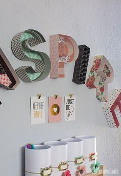 3-D Letter Art & Storage Jars! Such a cool project made out of paper from the Home+Made line!