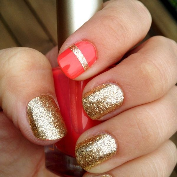 Paint your nails gold, then place a strip of tape across your pointer finger and paint with a coral color. Wait for it to dry then peel off the tape! Voila!! I love this idea! Gonna try it next!