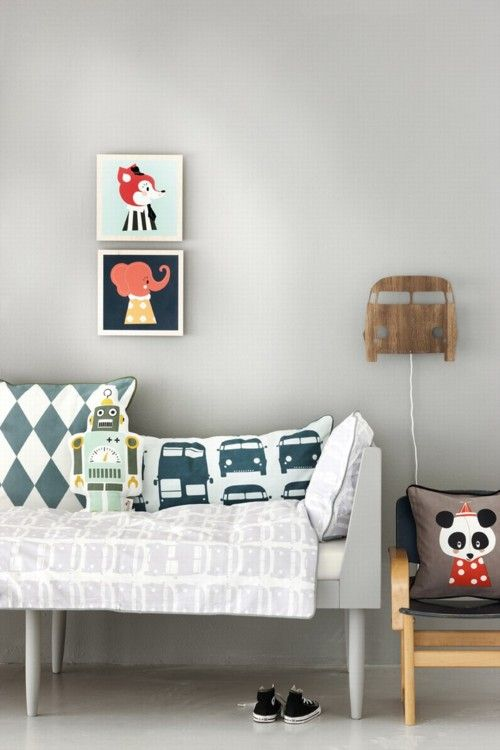 Love the bus pillow and light!  TIme to make the nursery into a big-boy room!