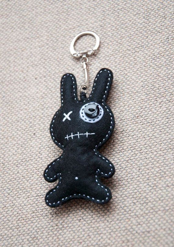 Little monster with white heart  key chain pendant by suyika, $12.00