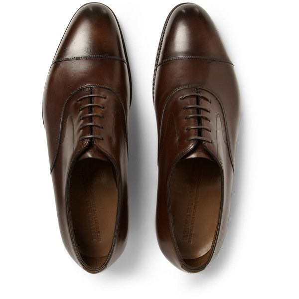 Edward Green Chelsea Leather Oxford Shoes (22,710 MXN) ❤ liked on Polyvore featuring men's fashion, men's shoes, mens leather shoes, mens leather lace up shoes, mens brown oxford shoes, mens brown leather shoes and mens lace up shoes