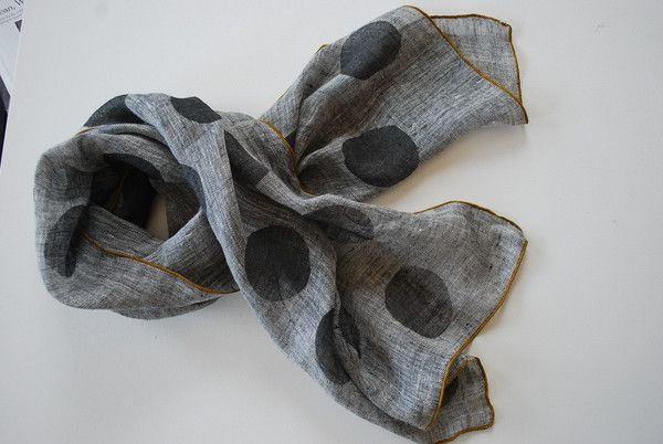Grey Weave with Charcoal Dots & Mustard Trim scarf from South Street Linen