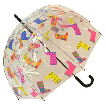 Paraguas transparente Dome de Blooming Brollies, botas de agua