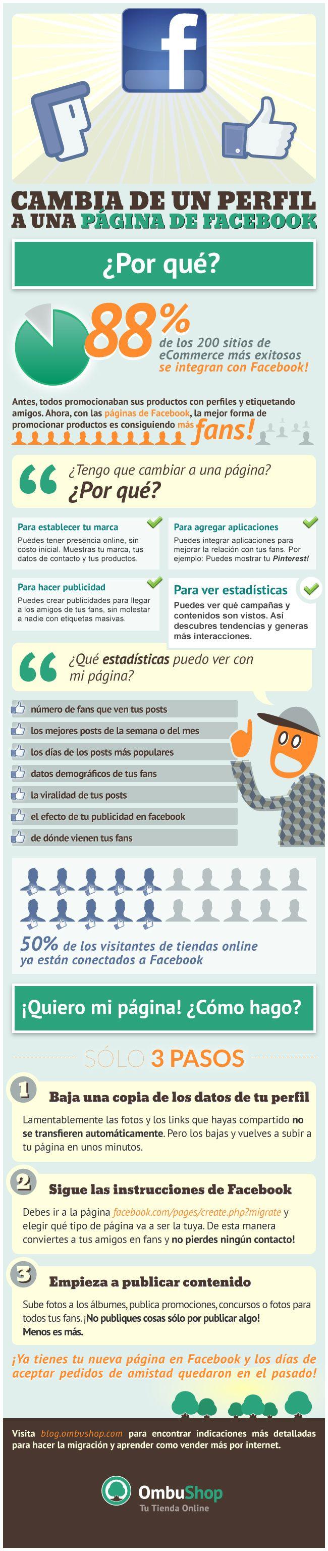 Cambia de un perfil a una página en FaceBook #infografia #infographic #socialmedia