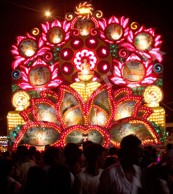 #75 Vesak Festival in Sri Lanka. The picture shows a beautiful Vesak Pandol (Thorana), a massive lit up structure, depicting stories from Bhudda's Life. These are constructed across the country during the festival in May.