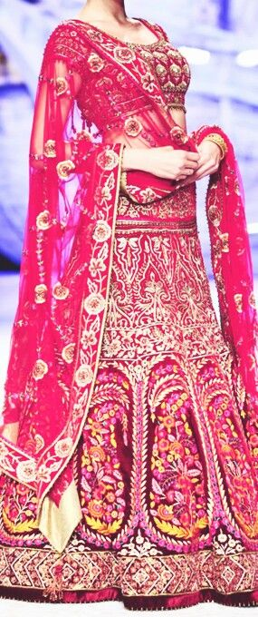 Red bridal lehenga. Indian wedding clothes. Indian wedding. J J Valaya 2013
