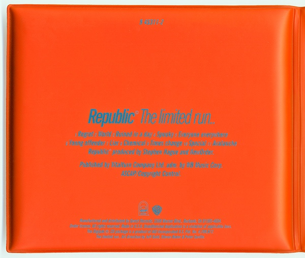 #2/4 The Ltd US release by New Order - Republic (1993) is packaged in water proof bright orange vinyl covered sponge padding. It is intended to resemble a rescue ring or life jacket worn by Lifeguards. The Video for song 'Regret' was film during the TV show 'Baywatch'.
