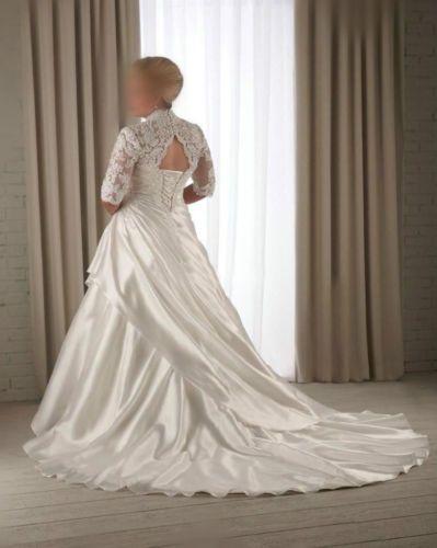 Plus Size Encaje white/ivory Vestidos de Novia Media Manga Vestido de Novia Vestidos De Novia