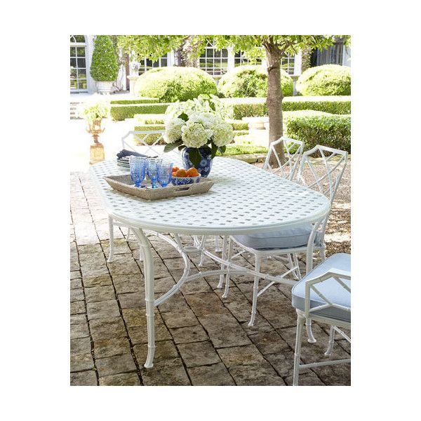 Brown Jordan Calcutta Outdoor Dining Table ($2,156) ❤ Liked On Polyvore  Featuring Home,