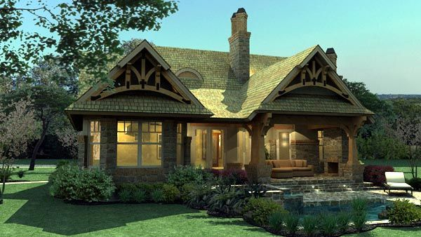 House Plan 65870 | Bungalow Cottage Craftsman Plan with 1421 Sq. Ft., 3 Bedrooms, 2 Bathrooms, 2 Car Garage , Lanai