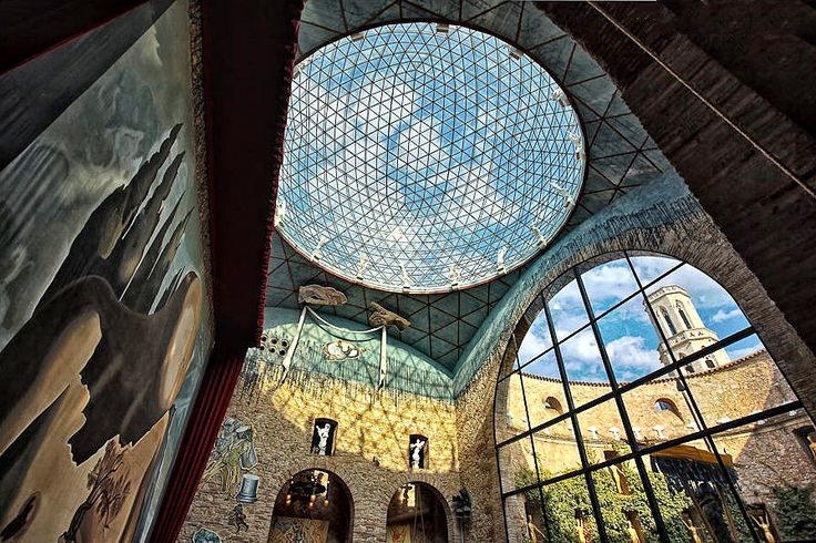 View from inside the Dali Theatre and Museum, in Figueras, Spain.  Designed by Dalí himself.  The glass dome seen above is actually nearly a complete sphere - like an IMAX dome.  A little too much HDR, though :-/