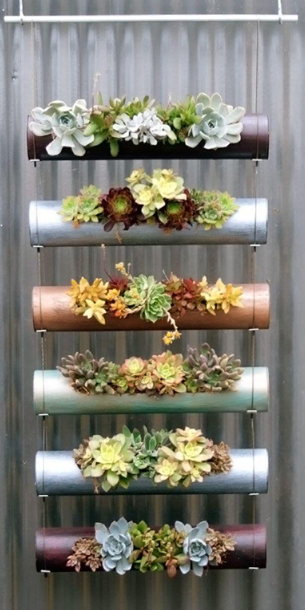 Faça Você Mesmo - Jardim vertical com tubos cilíndricos