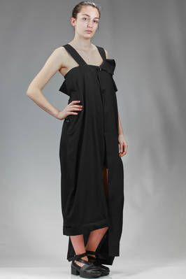 Yohji Yamamoto | asymmetrical divided skirt dungaree in rayon and cotton cloth | #yohjiyamamoto