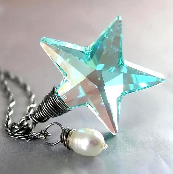 Blue Crystal Star Necklace Swarovski Teal Blue by DorotaJewelry, $39.00