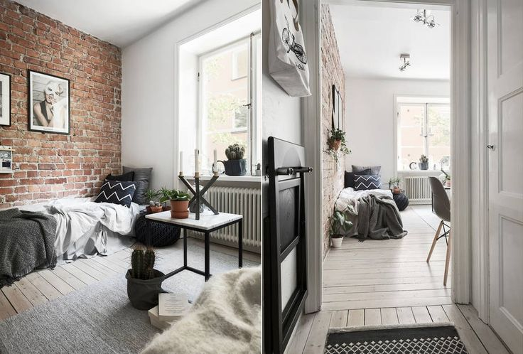 Tiny studio apartment with an exposed brick wall - FLOORPLAN gravityhomeblog.com - instagram - pinterest - bloglovin