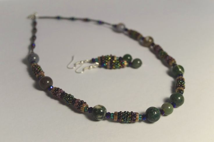 Beaded necklace and earrings with agates by NataliesBijoux on Etsy