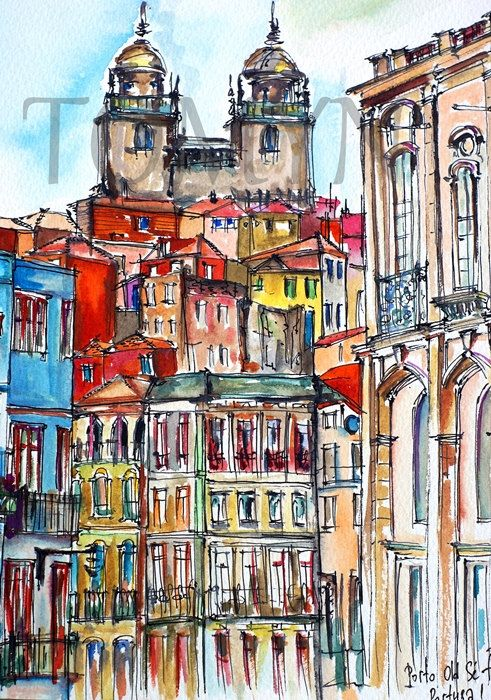 Porto Watercolor Print Portugal Wall Art Porto Architectural Etsy Architectural Prints Painting Watercolor Print
