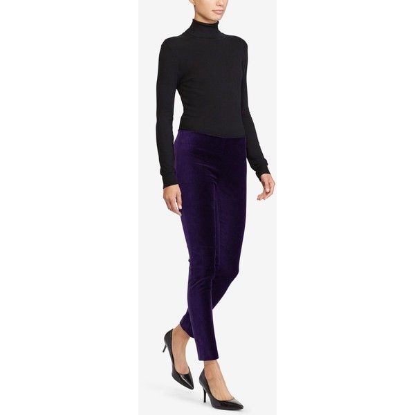 Lauren Ralph Lauren Petite Corduroy Skinny Pants ($68) ❤ liked on Polyvore featuring pants, dark mulberry, purple pants, skinny corduroy pants, petite pants, purple skinny pants and corduroy pants