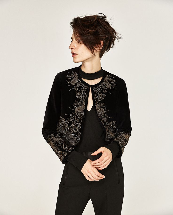 Embroidered velvet jacket evening woman zara united