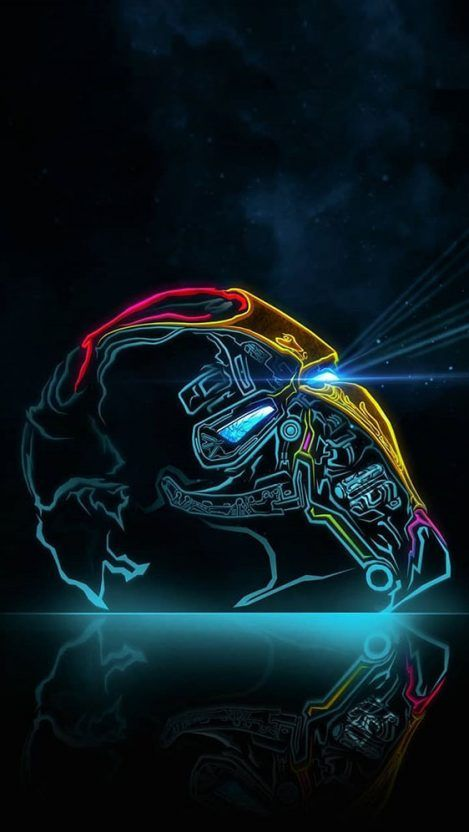 Iron Man Helmet in Space iPhone Wallpaper