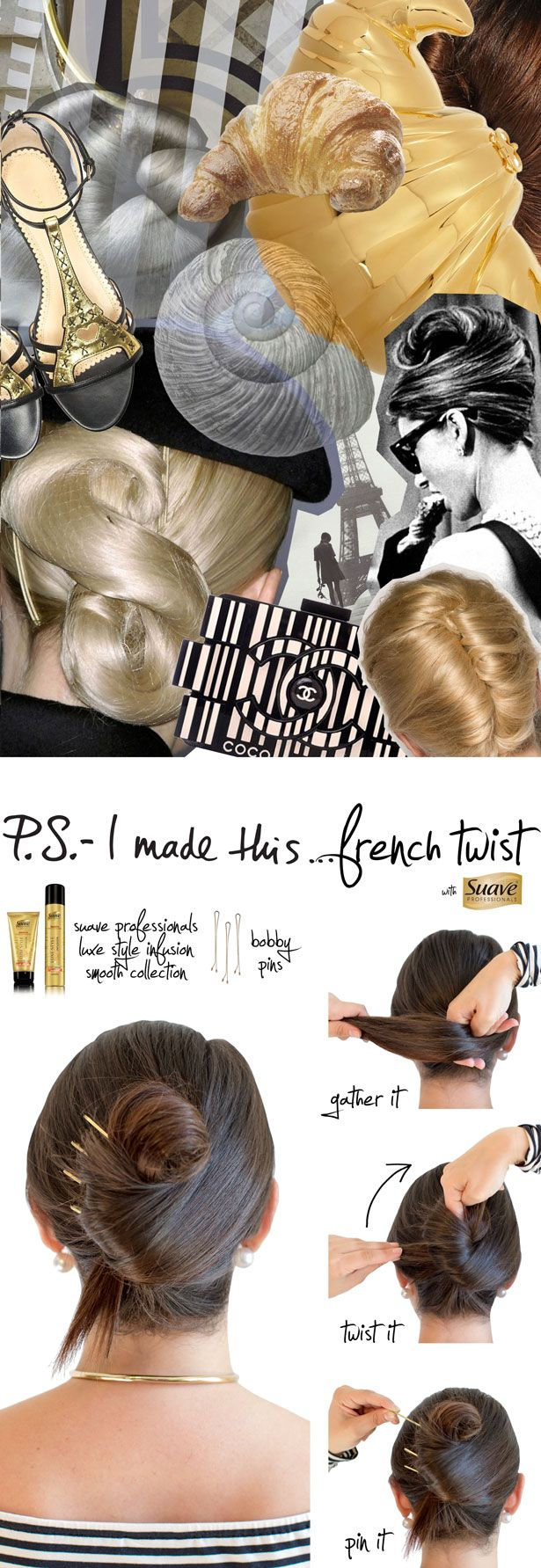 P.S.- I made this… French Twist with @SuaveBeauty featuring Suave Professionals Luxe Style Infusion Smooth Products. #StyleItYourself with these must-haves: Suave Professionals Luxe Style Infusion Smoothing Light Weight Weather Proof Cream, blow dryer, large bobby pins to keep your French Twist in place and Suave Professionals Luxe Style Infusion Anti-Humidity Hairspray to set your style. #StyleItYourself #SIY #DIY #psimadethis #AD