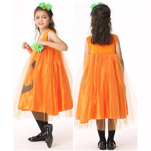 Halloween Kid Girls Pumpkin Fancy Dress Costume with Headwear