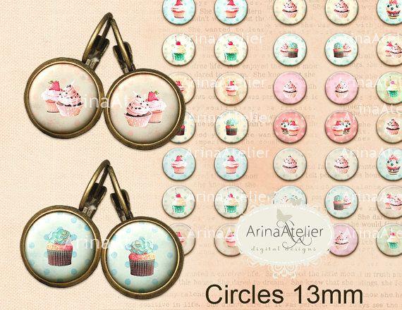 Micro slides Shabby Chic Cupcakes 13 mm by arinaatelierDigital