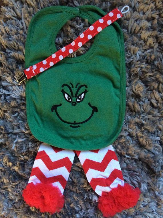 Christmas Grinch Baby Bib Pacifier Clip and by CuddlyStitchesbycjk