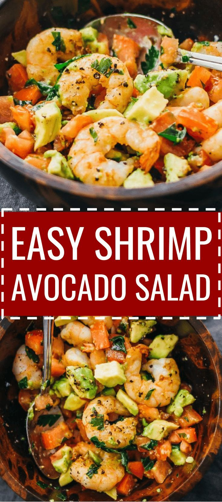 Here's a delicious and healthy cold shrimp salad with avocado, tomatoes, feta cheese, and lemon juice. dressing / summer / appetizer / fried / southwest / weight watchers / simple / whole 30 / cooked / citrus / fresh / meal prep / best / dip / ideas / skinny / chopped /  keto / low carb / diet / atkins / induction / meals / recipes / easy / dinner / lunch / foods / healthy #shrimp #salad via @savory_tooth