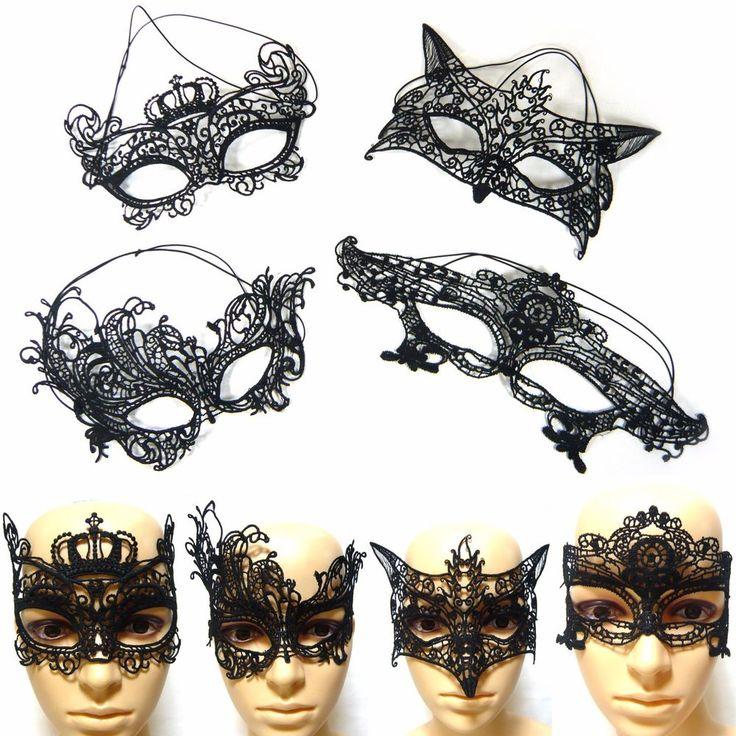Black Cotton Lace Masquerade Ball Eye Mask Venetian Party Costume Halloween New  #Jacc #MasqueradeBallMask #Party