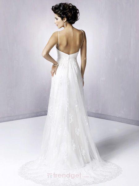 Alluring A-line V-neck Floor-length Lace White Wedding Dresses 2012 - $159.99 - Trendget.com
