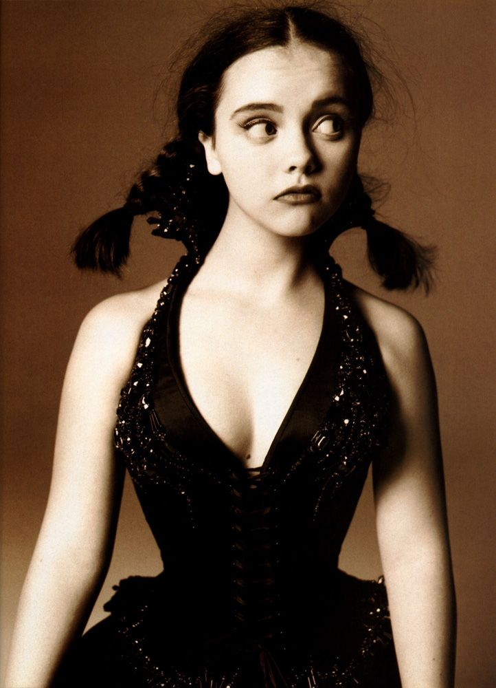 christina ricci - I LOVE her.  This is a great photo of her, looks like Wednesday Addams all grown up.