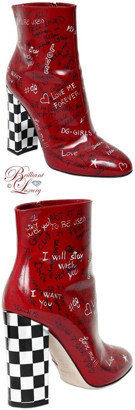 Brilliant Luxury ♦ Dolce & Gabbana Graffiti Leather Ankle Boots