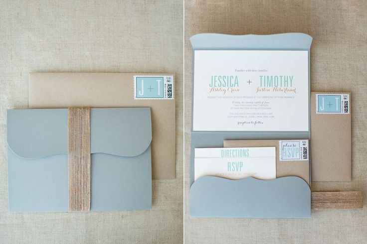 rustic & chic, modern light grey pocket wedding invitation, with burlap belly band, rustic wedding invitation