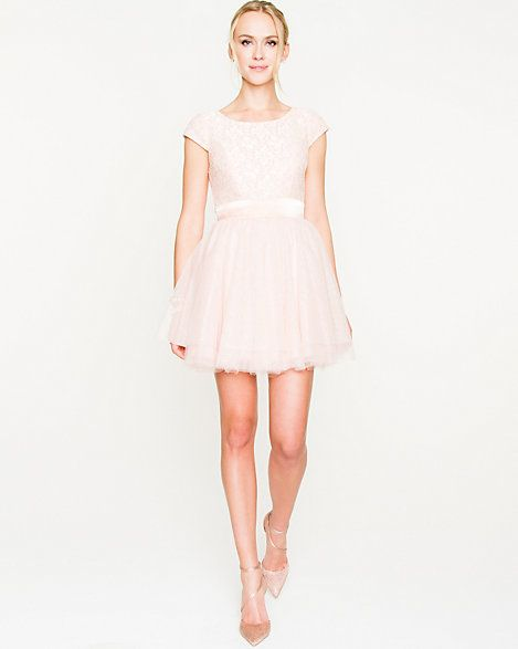 Lace & Mesh Fit & Flare Dress - This party-perfect number is defined by its shimmering lace texture and feminine full skirt.