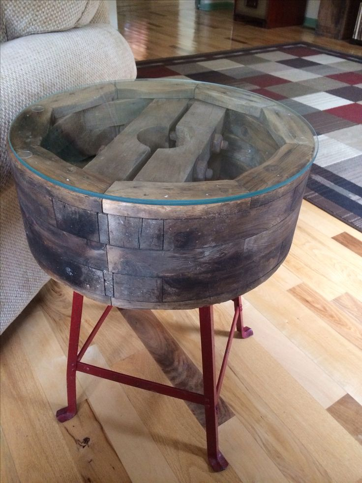 Industrial Side Table Made From A Wooden Pulley Amp An Old