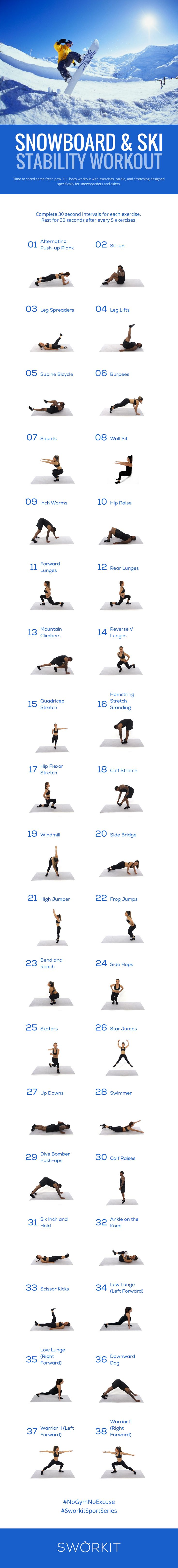 Snowboard and Ski custom workout for Sworkit for iOS and Android. If you have the Sworkit app, you can import this workout directly into the app: http://yogisurprise.com/pinterest | Full body workout with exercises, cardio, and stretching de