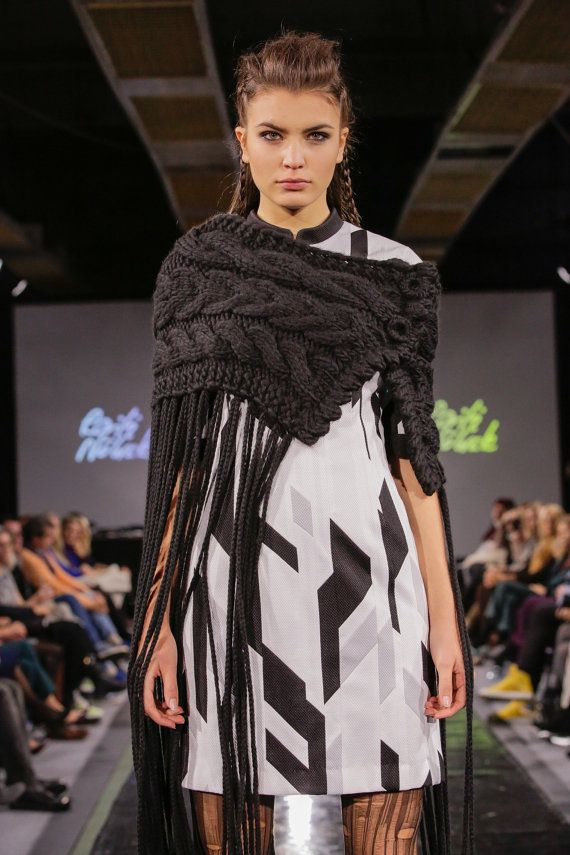 Black hand knitted poncho capelet scarf neckwarmer by RailiNolvak