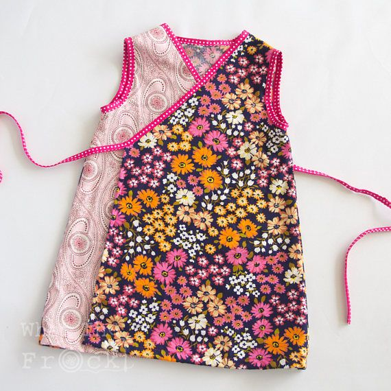 Girls Wrap Around Dress Pink Paisley and Daisies Vintage