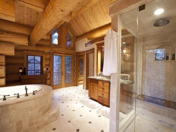 232 best images about log homes landscape shelter design for Log cabin bathrooms