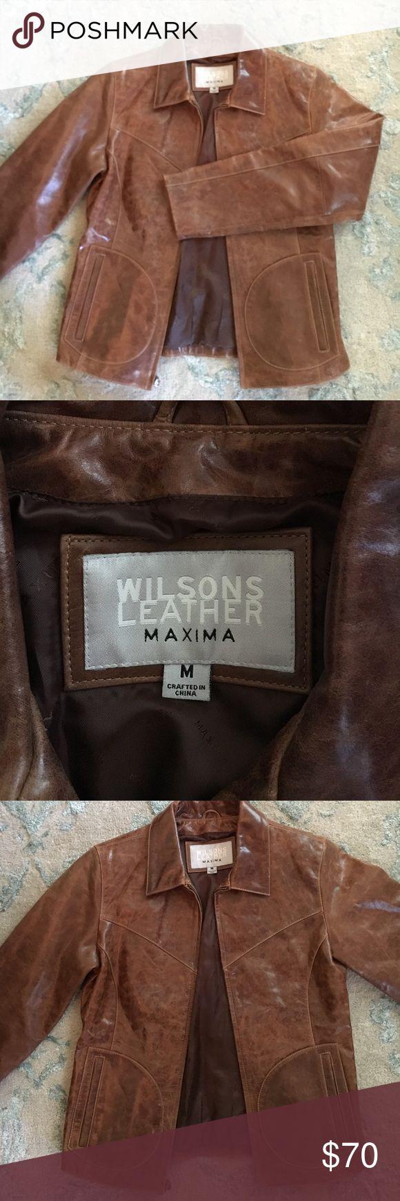 Distressed camel leather jacket Amazing retro jacket! #authentic #100% leather #Wilsons leather company #sizeMedium #like New Wilsons Leather Jackets & Coats