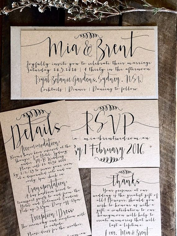 Specifications: La Pomme et la Pipes rustic, unique and super chic Rustic Wedding Invitation Suite. Made from my trademark environmentally