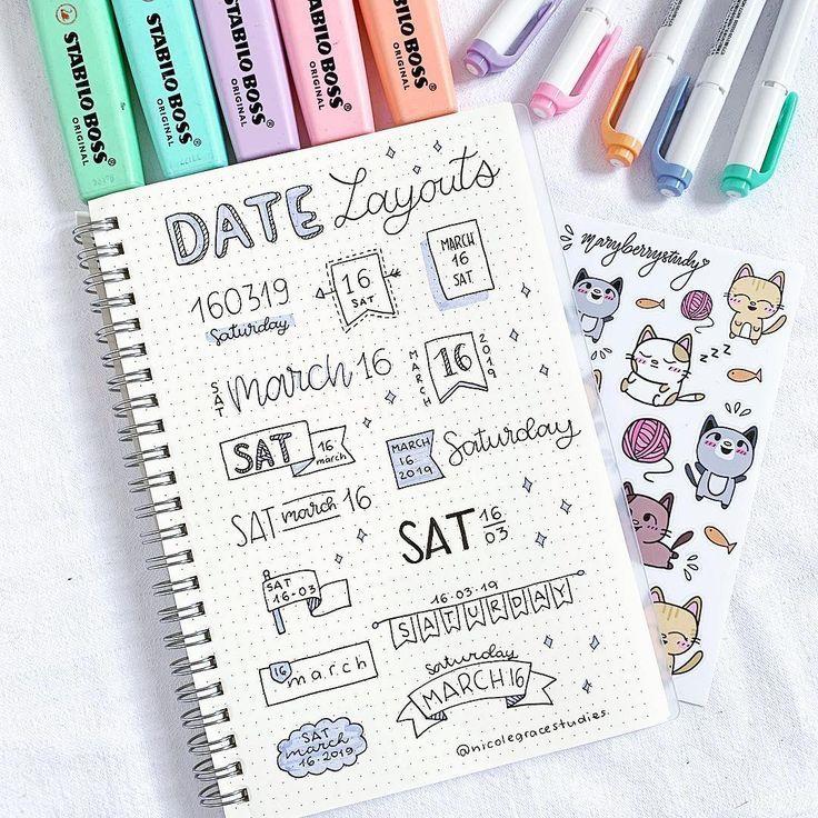 """Nicole Grace auf Instagram: """"Neue Datumsköpfe / Layouts, die Sie in Ihnen verwenden können"""