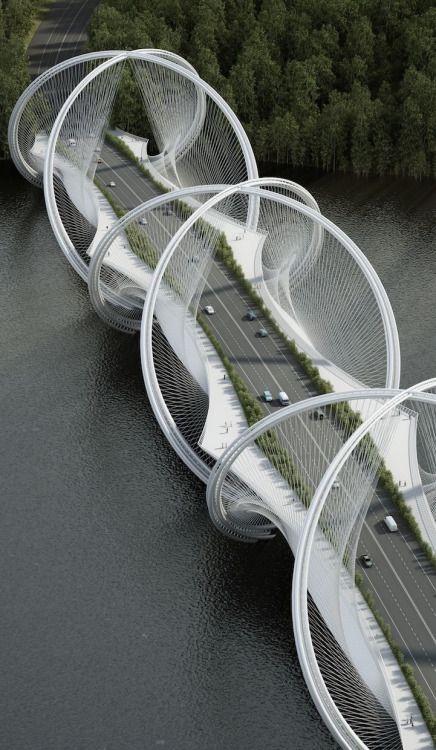 La firma de arquitectura Penda y la firma de ingeniería Arup se han unido para emprender el ambicioso objetivo de rediseñar el puente colgante, con su nuevo proyecto encargado de construir el Puente de San Shan en China. El puente se completará a tiempo para los Juegos Olímpicos de Invierno de 2022 en Pekín, y se extenderá a través del río Gui que conecta el centro de la ciudad de Pekín a Zhangjiakou.